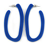 Trendy Blue Acrylic/ Plastic/ Resin Oval Hoop Earrings - 60mm L