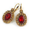 Vintage Inspired Oval Red/ Light Topaz Crystal Drop Earrings with Leverback Closure In Antique Gold Tone - 40mm L