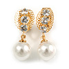 Delicate Crystal Faux Pearl Drop Clip On Earrings In Gold Tone - 30mm Long