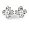 Delicate CZ, Faux Pearl Flower Clip On Earrings In Silver Tone -17mm D