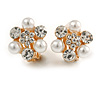Crystal, Faux Pearl Flower Clip On Earrings In Gold Tone - 20mm D