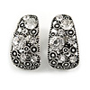 Marcasite C Shape Crystal Clip On Earrings In Aged Silver Tone - 27mm Tall