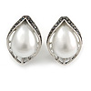 Vintage Inspired Faux Pearl Hematite Crystal Leaf Stud Clip On Earrings In Silver Tone - 23mm L