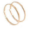 58mm Large Etched Hoop Earrings In Gold Tone