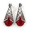 Marcasite Hematite Crystal, Red Glass, Filigree Teardrop Earrings In Aged Silver Tone - 40mm L