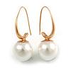 Modern Faux Pearl Ball Bead Drop Earrings In Gold Tone - 35mm Long