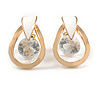 Teardrop with Clear Crystal with Black Enamel Detailing Stud Earrings In Gold Tone - 30mm L