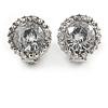 15mm Clear Glass Stone Round Clip On Earrings In Silver Tone