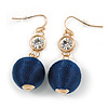 Dark Blue Silk Cord Ball with Clear Crystal Drop Earrings In Gold Tone - 50mm L