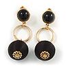Black Silk Cord Ball Drop Earrings In Gold Tone Metal - 60mm Long