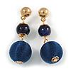 Midnight Blue Double Ball Drop Earrings In Gold Tone - 55mm L