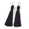Long Dark Blue Cotton Tassel Drop Earrings with Gold Tone Hook - 11.5cm L