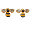 Small Yellow/ Black Enamel Clear Crystal Bee Stud Earrings In Gold Tone Metal - 18mm Across