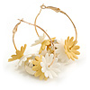 40mm Gold Tone Slim Hoop Earrings with Floral and Ball Charm