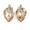 Champagne Faceted Glass Stone Leaf Clip On Earrings In Silver Tone - 23mm Tall