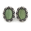 Vintage Inspired Asparagus Green Glass Oval Clip On Earrings In Antique Silver Tone - 25mm Tall