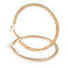 60mm Gold Tone Flat Etched Hoop Earrings