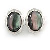 Oval Peacock Glass Stone Clip On Earrings In Silver Plated Metal - 25mm L