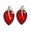Ruby Red Faceted Glass Stone Leaf Clip On Earrings In Silver Tone - 23mm Tall