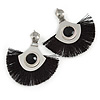 Statement Silver Tone Black Cotton Fringe Drop Earrings - 65mm L