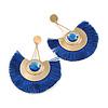 Statement Blue 'Fringe' Chandelier Drop Earrings In Gold Tone - 10.5cm Long