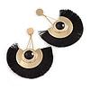 Statement Black 'Fringe' Chandelier Drop Earrings In Gold Tone - 10.5cm Long