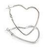 Slim Open Heart Hoop Earrings In Silver Tone Metal - 40mm Long