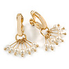 Gold Plated Half Hoop with Dangling Faux Pearl Bead Clip On Earrings - 30mm Tall