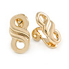 Small Infinity Motif Clip On Earrings In Polished Gold Plated Metal - 20mm Tall