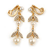 Striking Clear Crystal, Faux Pearl Floral Drop Clip On Earrings In Gold Plated Metal - 45mm Long