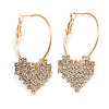 30mm Medium Romantic Hoop Earrings with Crystal Heart In Gold Tone Metal