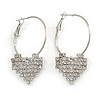30mm Medium Romantic Hoop Earrings with Crystal Heart In Silver Tone Metal