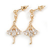 Delicate Clear Cz Ballerina Drop Earrings In Gold Tone - 30mm Long