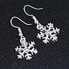 Christmas Fancy Crystal Snowflake Drop Earrings In Silver Tone Metal - 35mm Long
