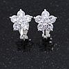 Small Clear Cz Flower Clip On Earrings in Silver Tone - 13mm Across