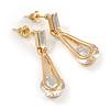 Stylish Clear Cz Teardrop Earrings In Gold Tone Metal - 30mm Long