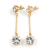 Gold Tone Clear Crystal Bar Drop Earrings - 50mm L
