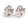 Delicate Pearl, Crysal Floral Clip On Earrings In Silver Tone (Clear/White/Pink) - 18mm Tall