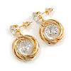 Delicate Multi Circle Cz Drop Earrings In Gold Tone - 25mm Tall