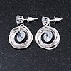 Delicate Multi Circle Cz Drop Earrings In Light Silver Tone - 25mm Tall