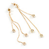 Delicate Gold Tone Chain Cz Dangle Earrings - 8cm Long