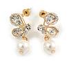 Delicate Clear Cz White Faux Pearl Butterfly Drop Earrings In Gold Tone - 25mm L
