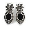 Marcasite Hematite Crystal Teardrop Earrings In Aged Silver Tone - 35mm L