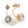 6mm/ 14mm Gold Plated Clear Crystal Half Circle Stud Earrings - 30mm L
