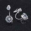 6mm/ 14mm Silver Plated Clear Crystal Half Circle Stud Earrings - 30mm L