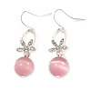 Romantic Clear Crystal Flower with Pink Glass Ball Bead Drop Earrings In Silver Tone - 45mm Long