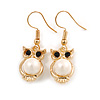 Gold Tone Faux Pearl Owl Drop Earrings - 37mm Tall