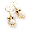 Gold Tone Faux Pearl Owl Drop Earrings - 37mm Tall