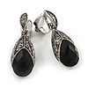 Vintage Inspired Hematite Crystal Black Bead Teardrop Clip On Earrings In Aged Silver Tone - 30mm Tall