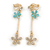 Long Gold Tone Floral Crystal Drop Clip On Earrings - 60mm Tall